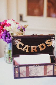 As Seen on Style Me Pretty - Wedding Trunk Card Box.  Available at www.duryeaplace.com.  Photo by 217 Photography. #duryeaplace #weddings #cardbox