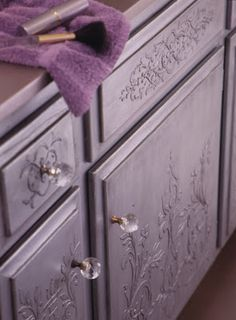 Embossed stenciled/painted furniture