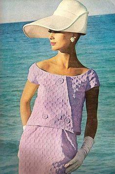 This is NOT Audrey Hepburn. She is Brigitte Bauer modeling a lilac summer suit by Jane Derby ~ Vogue, April 1964 Moda Vintage, Vintage Mode, Vintage Pink, Vintage Outfits, Robes Vintage, Vintage Dresses, Vintage Hats, 1960s Fashion, Cute Fashion