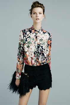 floral top, feather clutch...ZARA