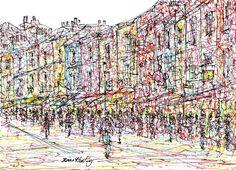 Portobello Road London - Drawing,  21.5x15.5  ©2017 by Brian Keating -                                                                                                                                                Figurative Art, Illustration, Impressionism, Modernism, Paper, Architecture, Cities, Cityscape, People, Places, portobello road drawings, london drawings, london scenes drawings, london art