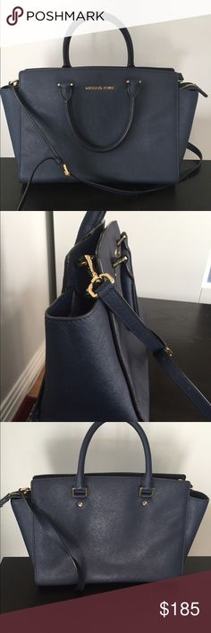 "Michael Kors Selma Satchel. Beautiful navy. Smoke free, pet free home, great condition. No marks or skuffs or stains!!!    13"" x 9"" x 6"" Michael Kors Bags Satchels"