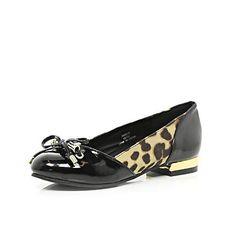 Girls black patent ballerina shoes $32.00