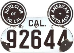 "CALIFORNIA, 1913 porcelain prestate license plate.  From 1905 through 1913, California motorists were required to provide their own license plates.  Members of the Automobile Club of Southern California were able to purchase porcelain plates distributed by that club, of which this is an example.  This style of plate is famously known as a ""Mickey Mouse"" plate."