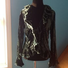 Calypso Crushed Velvet Jacket Calypso green crushed velvet jacket with two pearlized buttons as clasps. The picture is true to color - dark emerald. Absolutely gorgeous and even more so in person. Ruffles give off a renaissance feel. Calypso Jackets & Coats