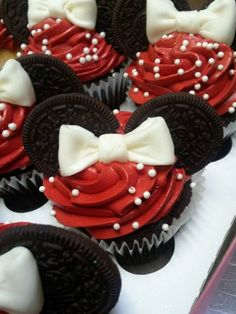 Minnie Mouse cupcakes. They look good and taste good too. If I ever have a girl I am TOTALLY going to make them for her.