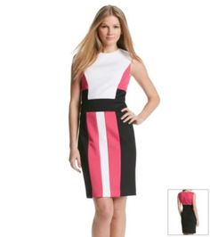 12/2/15  Brand/Designer: Calvin Klein Material: Polyester /Rayon /Spandex Dress Silhouette: Sheath Shoulder: Sleeveless Neckline: Crew Neck Embellishments: Colorblocking Lined Closure/Back: Hidden Back Zipper