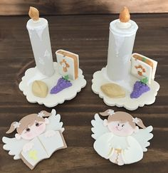 Baptism Decorations, First Holy Communion, Pasta Flexible, Corpus Christi, Holi, Place Card Holders, Handmade, Crafts, Cold Porcelain Ornaments