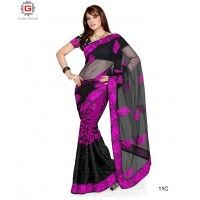 PARTY WEAR SAREE  COLOUR-BLACK OR PINK  FABRIC-GEORGETTE