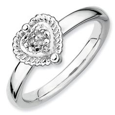 Stackable Expressions Sterling Silver Heart Diamond Ring. Sale Price $55. Available in sizes 5-6-7-8-9-10.