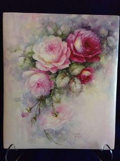 Sonie Ames Signed Hand Painted Roses On Porcelain Tile Vintage   Pottery, Glass, Pottery, Porcelain, Other Porcelain   eBay!