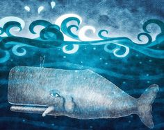 Free Quick Ship Art Vintage Whale Print on by Kokabella on Etsy