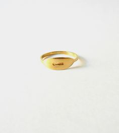 Size 7 or 8 - Oval Signet Ring | This signet-style ring is cut, filed, forged and sanded by han... | Rings