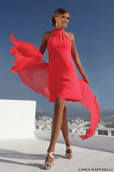 Linea Raffaelli Santorini collection Set 19 is part of Dresses - Linea Raffaelli Santorini collection Set 19 Vibrant red Aline dress with Sexy Dresses, Evening Dresses, Short Dresses, Fashion Dresses, Red A Line Dress, The Dress, Elegante Jumpsuits, Vestidos Retro, Pink Costume