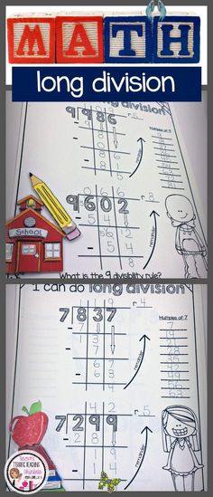 Long Division Worksheets Bundle Teach long division strategies with these engaging practice activities for 4th grade and 5th grade. Great idea for math centers, math stations and enrichment.<br> Teaching Long Division, Long Division Worksheets, Math Division, Teaching Math, Long Division Strategies, Maths, Long Division Activities, 3rd Grade Division, Kids Worksheets