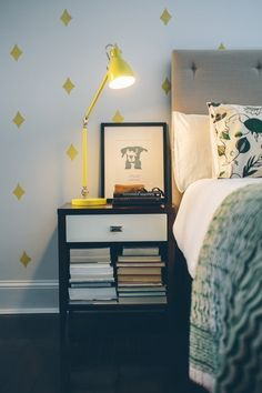 Yellow diamonds- Accent Wall Inspiration: DIY Faux Wallpaper (baseboards)