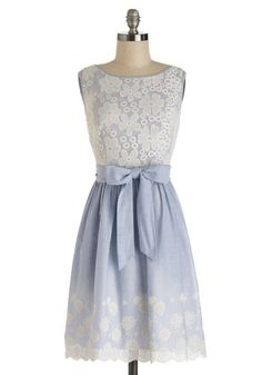 Couldn't Be Happier Dress - Blue, White, Stripes, Exposed zipper, Eyelet, Scallops, Belted, Daytime Party, A-line, Sleeveless, Better, Mid-l...
