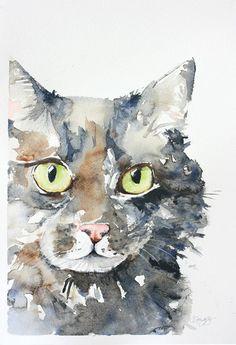 custom pet portrait, original watercolor painting, dog or cat painting, handmade gift/present.