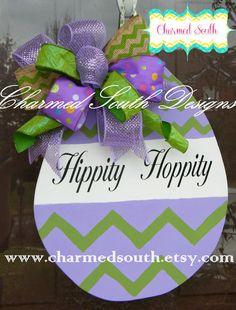 Easter Egg Door hanger by CharmedSouth Www.charmedsouth.etsy.com #easter #charmedsouth #doorhanger easter idea, door hanger, door decor, wreath, easter eggs, hangers, chevron, door art, wood doors