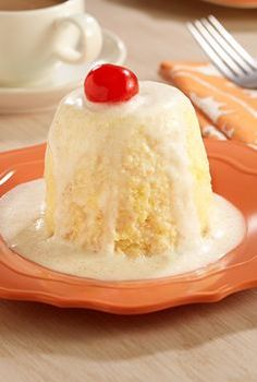 Individual tres leches cake recipe made in microwave before finishing with a sweetened 'three' milk mixture