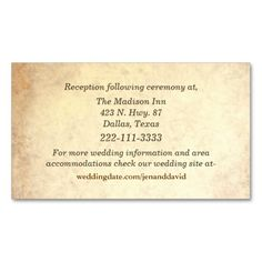 Antique Look Wedding Enclosure Cards Business Card Template