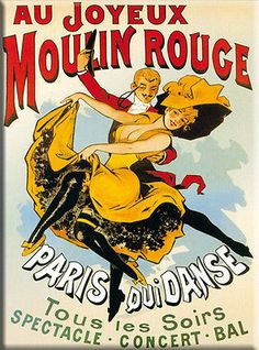 """""""Au Joyeux Moulin Rouge"""" ~ Vintage French concert poster"""