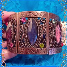 """🎉Best in Jewelry HP🎉Victorian Style Bracelet💖 This is a favorite style of many out there. The cuff overlaps on one end to keep it secured on your wrist and fits a small to large wrist. The metal is purposely aged in a rustic patina. Marquise shaped & round stones in the colors shown are so pretty. Width is 1.5"""". Brand new, not worn yet. NWT. Purchased at Bellagio boutique. IEC Jewelry Bracelets"""