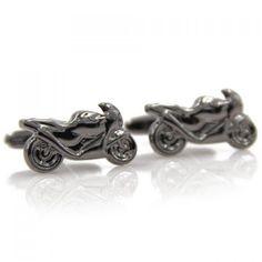 Pair of Stylish Men's Black Scrambling Motorcycle Shape Cufflinks #men, #hats, #watches, #belts, #fashion