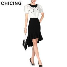 CHICING 2015 High Low Skirts Womens Fashion High Waist Formal Short Party Asymmetrical Romantic Ruffles Skirts Saias B1472514