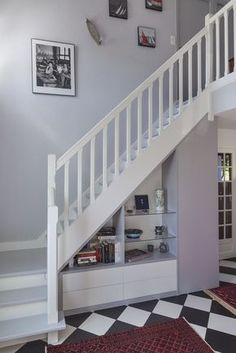 grey staircase red oak stained grey white spindles grey. Black Bedroom Furniture Sets. Home Design Ideas