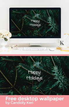 Happy Holidays Pine tree background wallpaper you can download for free on the blog! For any device; mobile, desktop, iphone, android!
