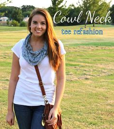 Cowl neck tee refashion--this may be my fav tee refashion that I've run across...  I want to make one so bad!