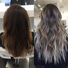 Balayage/ombre before and after by @colorbymichael. #ombre #balayage #haircolor…