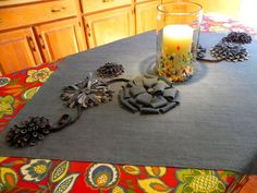 Denim Table Topper Embellished with Denim Flowers