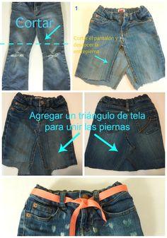 Cómo transformar un Jean en una falda - Mama Mama Count Me - Ropa reciclada Diy Denim, T Shirt Reconstruction, Jean Vintage, How To Make Skirt, Diy Shorts, Recycle Jeans, Shirt Refashion, Old Jeans, Classic Outfits