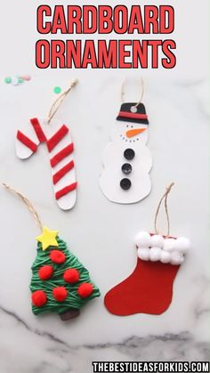CARDBOARD ORNAMENTS : CARDBOARD ORNAMENTS - make a snowman, Christmas tree, candy cane or stocking cardboard ornament! Make these cardboard ornaments with only a few supplies and cookie-cutters! Make a Christmas tree, snowman, candy cane or stocking. Christmas Crafts For Kids To Make, Handmade Christmas Decorations, Christmas Ornament Crafts, Christmas Activities, Diy Christmas Ornaments, Kids Christmas, Holiday Crafts, Christmas Gifts, Halloween Crafts