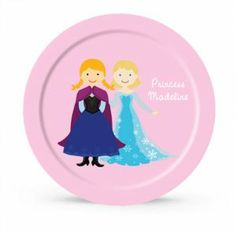 Personalized Snow Princess and Snow Queen Plate