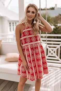 79ab8a21394c Santorini Breeze Eyelet Dress in Red • Impressions Online Boutique Eyelet  Dress