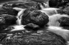 Smith Creek In Black And White. below Anna Ruby Falls near Helen, Georgia