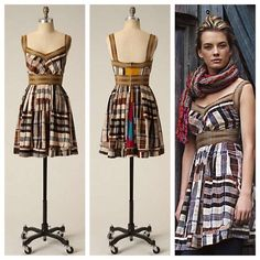 """Anthro 'CROP PATTERNS DRESS' Trimmed in twill and printed with squares of silk plaid, this frock brings to mind a drive through a freshly tilled countryside. A Plenty by Tracy Reese design. Back zip  Silk   Dry clean  36""""L Anthropologie Dresses"""