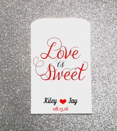 Love is Sweet, Wedding Candy Bag, Wedding Candy Buffet, Candy Favor Bags, Treat…