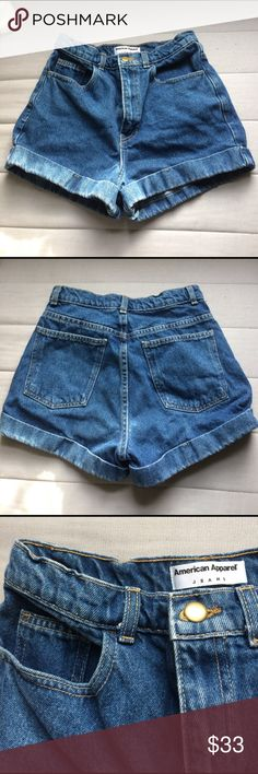 AA High Waist Denim Shorts American Apparel Jeans high waist denim jean shorts. Mid wash blue, size 27, good condition. I only just realized AA went out of business sooo not sure if i have flexibility on price yet :~| American Apparel Shorts Jean Shorts