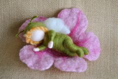 Waldorf inspired needle felted doll:  Baby  Flower Fairy