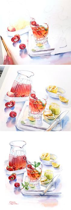 Watercolor step by step tutorial of painting Strawberry Cocktail by Kateryna Savchenko. Detailed commercial food illustration of the summer beverages with berries, lemon and mint. Sparkling glass and metall in watercolor