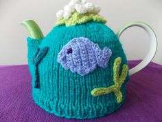 Tea cosy aquarium knitted with glass bead by PurpleValleyDesign, £25.00