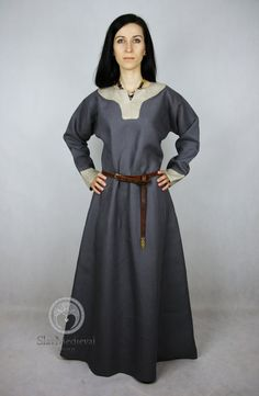SALE Early Medieval linen underdress gown, Gray nad beige SIZE M,  100% linen. Viking costume, reconstruction.