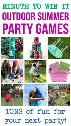 to Win It Outdoor Summer Party Games - These fun (and funny!) Minute to Win It Games are perfect for your next outdoor summer block party, bbq, family reunion, or backyard bash! Great for all ages! - Happiness is Homemade Block Party Games, Adult Party Games, Birthday Party Games, Birthday Boys, Party Games For Adults, Sleepover Party, Funny Birthday, Happy Birthday, 17th Birthday