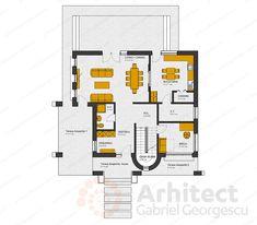 Casa cu etaj 62 | Proiecte de case personalizate | Arhitect Gabriel Georgescu & Echipa Floor Plans, Projects, House, Design, 2nd Floor, Flats, Haus, Design Comics