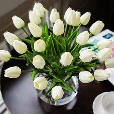 10 PCS Tulipe Fleur Artificielle Latex Real Touch De Mariée Bouquet De Mariage À La Main Parti Décoration 45