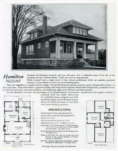 1920 Bennett Homes: The Hamilton - The Hamilton home model shown in the 1920 Bennett catalog has 1008 sq. on the main floor with an additional on the second. It's a bungalow with a hipped roof and front dormer Craftsman Bungalow Exterior, Bungalow Homes, Craftsman Bungalows, Craftsman Style, Bungalow Kitchen, Dormer Roof, Shed Dormer, Attic Renovation, Attic Remodel